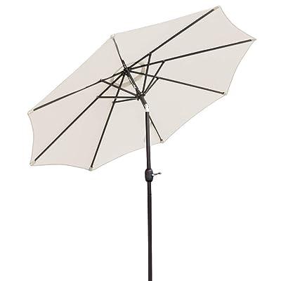 Bonnlo 9-Feet Heavier Pole Thicker Fabric with Easy Push Button Tilt 8 Ribs Outdoor Patio Umbrella Aluminum Backyard Market Table Umbrella(Beige) : Garden & Outdoor
