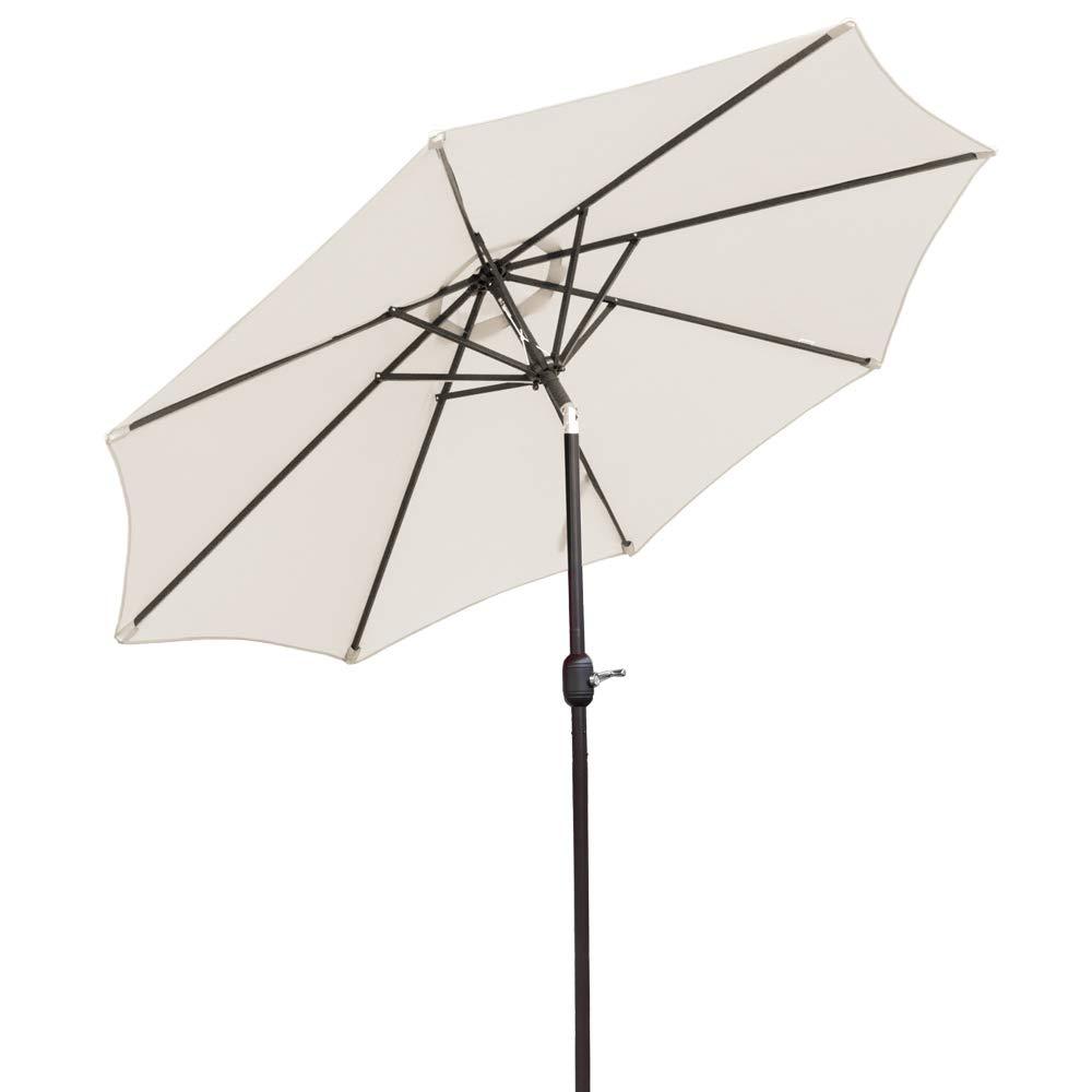 VINGLI 9-Feet Heavier Pole Thicker Fabric with Easy Push Button Tilt 8 Ribs Outdoor Patio Umbrella Aluminum Backyard Market Table Umbrella(Beige)