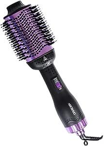 Hair Dryer Brush , Hot Air Brush Styler and Dryer for Short Hair, Hair Dryer and Volumizer with Negative Ion Curling Dryer Brush, Straightening Brush, AIBOSHUO