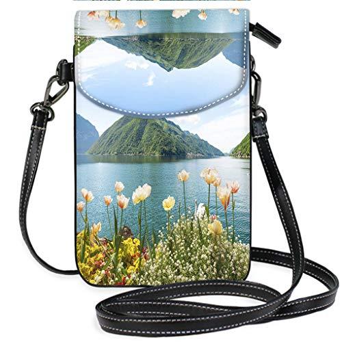 Lugano Messenger - Multicolor Shoulder Messenger Bag Phone Purse Flowers Near Lake with Swans Lugano Switzerland Casual, Lightweight Multi Pockets Crossbody Bag