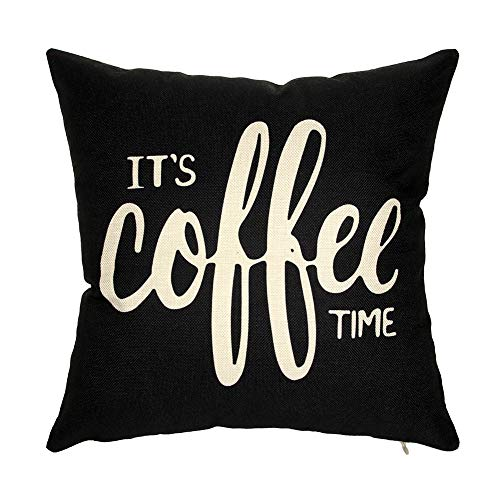 Ogiselestyle It's Coffee Time Motivational Sign Cotton Linen Home Decorative Throw Pillow Case Cushion Cover for Sofa Couch, 18