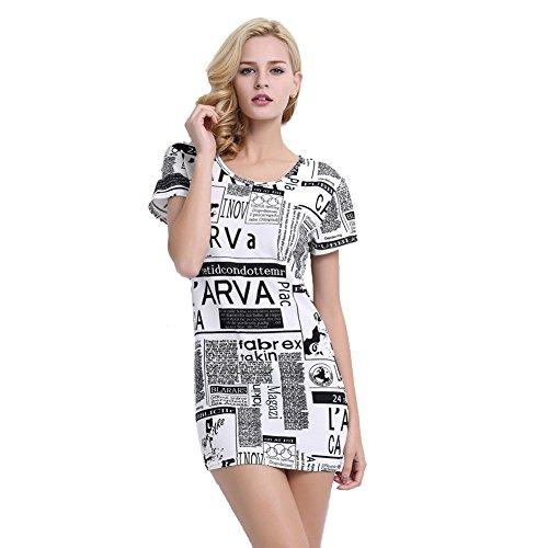 Cottory Women Newspaper design printing Short Sleeve Mini Dress (Paper Dolls Cotton Halter Dress)