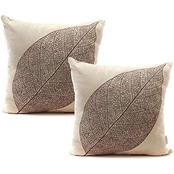 Luxbon Set of 2Pcs Rustic Farmhouse Leaves Decor Cotton Linen Throw Pillow Cases Sofa Couch Chair Decorative Cushion Covers 18