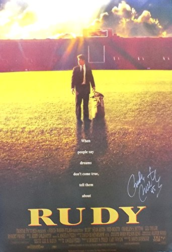Rudy Ruettiger Notre Dame Irish Signed Rudy Movie Poster Si