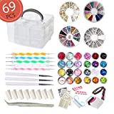 AIFAIFA 69PCS DIY Nail Art Tools Decoration Manicure Kit, Glitter Nail Rhinestones, Nail Sticker Decal, Nail Sequins, Ombré Sponge, Dotting Pen, Clean Brush, Nail Design...