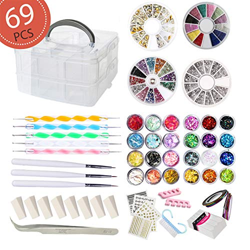 Nail Art Starter - AIFAIFA 69PCS DIY Nail Art Tools Decoration Manicure Kit, Glitter Nail Rhinestones, Nail Sticker Decal, Nail Sequins, Ombré Sponge, Dotting Pen, Clean Brush, Nail Design Supplies Come with Gift Box