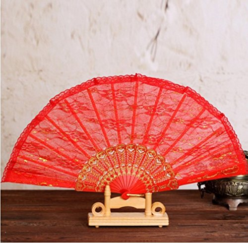 Red Sequins Spanish Hand Fan Lace Fabric Dancing Folding Fan Party Decoration Fans Girls Women