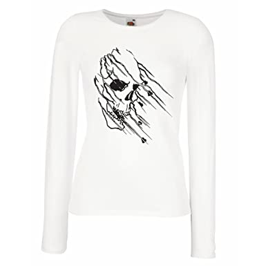 lepni.me Camisetas de Manga Larga para Mujer Tatuaje de Calavera ...
