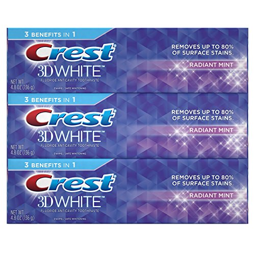 Crest 3D White, Whitening Toothpaste, Radiant Mint, 4.8 Ounce,3 Count