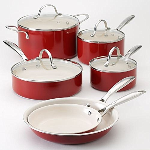 Food Network Cookware Set Nonstick Ceramic Coating 10 Piece, Red, Scratch-Resistant PTFE PFOA and Cadmium Free Dishwasher Safe Oven SafeGlass Lid