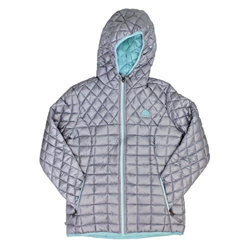 - Snozu Glacier Shield Hooded Quilted Jacket For Girls (X-Small/5-6, Silver)