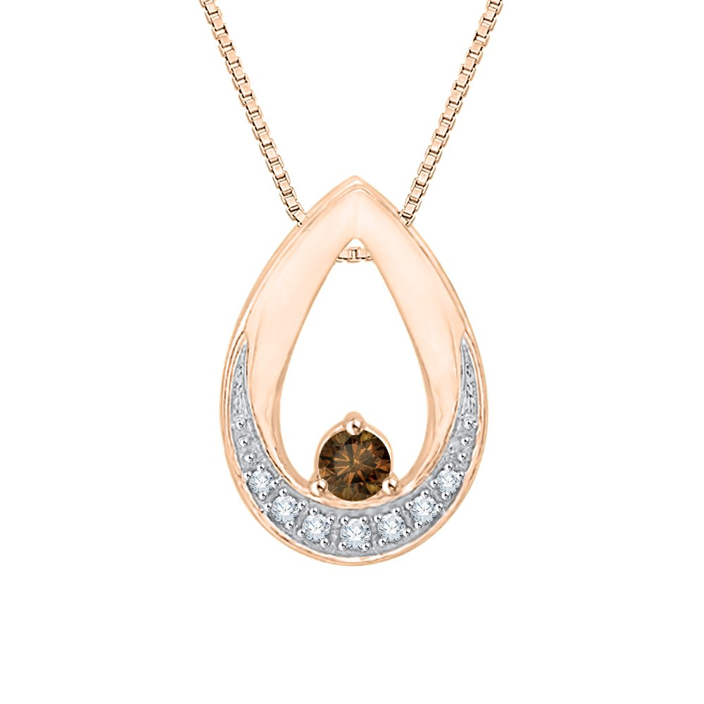 1//8 cttw, G-H, I2-I3 KATARINA Cognac and White Diamond Fashion Pendant Necklace in 10K Rose Gold