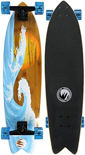 Paradise New Longboard Complete Bamboo Sunset Wave Complete Skateboard
