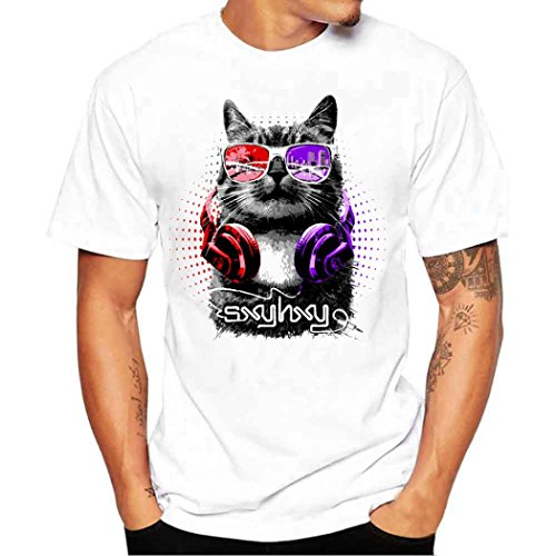 TOOPOOT Summer Fashion Cat Print T-shirts for Mens Boys (M)