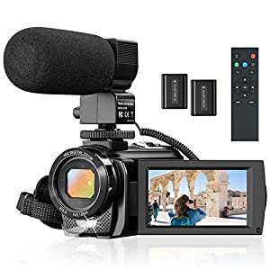 """Flashandfocus.com 5152uA0qvuL._SS300_ Camcorder Video Camera for YouTube, Vlogging Camera Recorder Full HD 1080P 30FPS 24MP 16X Zoom 3"""" 270° Rotation Screen Digital Camera with Microphone, Fill Light, Remote Control, 2 Batteries"""