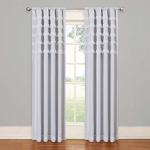 Eclipse Kids Ruffle Batiste Blackout Window Panel, White, 50 x 84