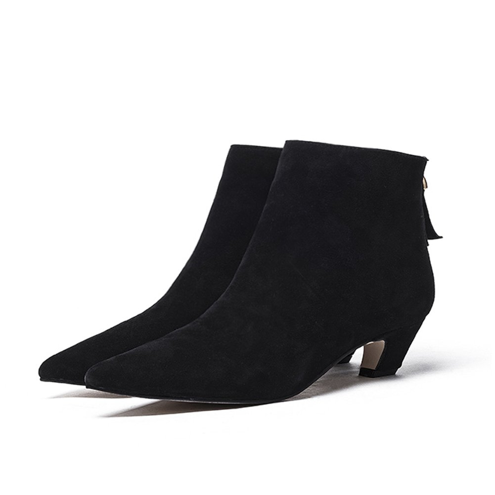 Darco /& Gianni Black Ankle Boots for Women Elegant Pointed Toe Booties Low Block Heel Back Zipper Simple Ladies Short Boots