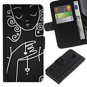 For SAMSUNG Galaxy S4 IV / i9500 / i9515 / i9505G / SGH-i337,S-type® White Lady Woman Sad Emo Dark - Dibujo PU billetera de cuero Funda Case Caso de la piel de la bolsa protectora