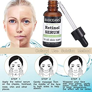 Retinol Serum, Hyaluronic Acid Serum, Professional Anti Aging Face Serum, Anti-Wrinkle, Reduce Fine Lines Redness, Works Best With Vitamin E, Hyaluronic Acid, Jojoba Oil 1oz
