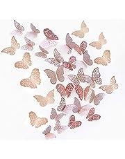 JUN-H 36 Stuks 3D Vlinderdecoraties Vlinderstickers DIY Wall Art Sticker Slaapkamer Babykamer Decor Decals Verwijderbare decoratieve papieren muurschilderingen voor thuis Woonkamer (rozerood)
