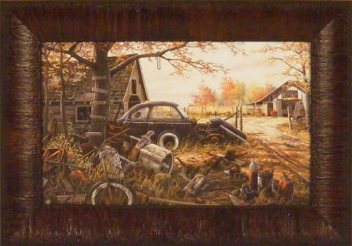 Old Car Framed (Another Man's Treasure by Ken Zylla 11x15 Old Car Junkyard Antiques Framed Art Print Wall Décor Picture)