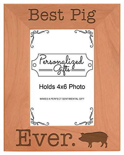 ThisWear Potbelly Pig Gift Best Pig Ever Natural Wood Engraved 4x6 Portrait Picture Frame Wood