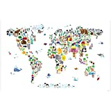 Amazon icanvasart animal map of the world by michael tompsett animal kingdom map of the world art poster print where do which animals gumiabroncs Choice Image