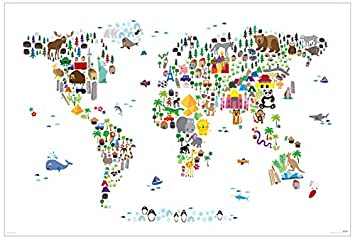 Amazon animal kingdom map of the world art poster print animal kingdom map of the world art poster print where do which animals gumiabroncs Image collections
