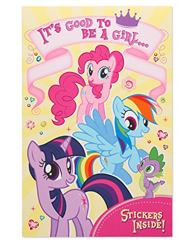 American Greetings My Little Pony Birthday Card for Girl with Stickers