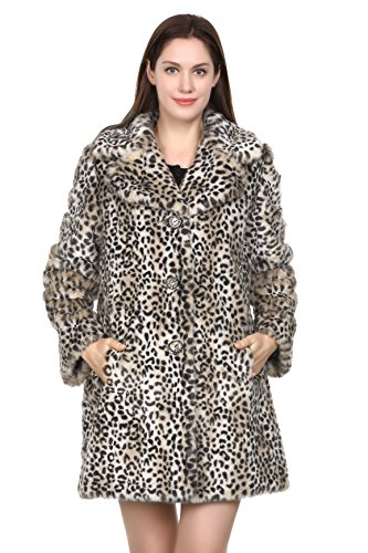 Adelaqueen Women's Fabulous Leopard Print Middle Length Faux Fur Coat