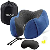 Travel Neck Pillow 100% Pure Memory Foam Ergonomic Design Neck Chin Support Comfortable Neck Pillow for Airplan Travel with Storage Bag Lightweight