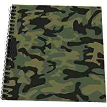 """3dRose db_157596_1 Dark Green Camo Print Hunting Hunter Or Army Soldier Uniform Style Camouflage Woodland Pattern Drawing Book, 8"""" x 8"""""""