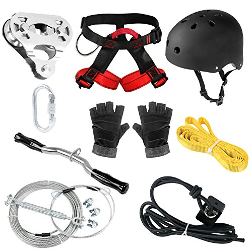 (CTSC 150 Foot Zip Line Kit for Kids and Adult(Less Then 250lb) with Brake and Seat, Helmet and Harness, Zipline for Backyard Entertainment Equipment, Premium Materials, Easy to Install (150))