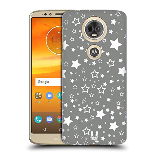 Head Case Designs Stars Silver Holiday Collection Hard Back Case Compatible for Motorola Moto E5 Plus