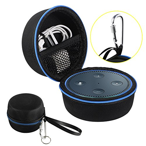 Echo Dot Case with Screw-Lock Carabiner, 1680D Nylon, Protective Travel Carrying Hard Case for Amazon Echo Dot(2nd Generation), fits USB Cable and Wall Charger