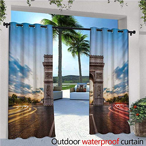 (homehot European Indoor/Outdoor Single Panel Print Window Curtain Paris Famous Champs Elysees Avenue Historical Monument French Culture Panorama Silver Grommet Top Drape W108 x L108 Multicolor)