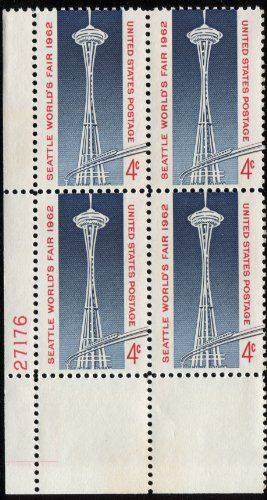 SPACE NEEDLE ~ MONORAIL ~ SEATTLE WASHINGTON ~ WORLD'S FAIR #1196 Plate Block of 4 x 4¢ US Postage Stamps