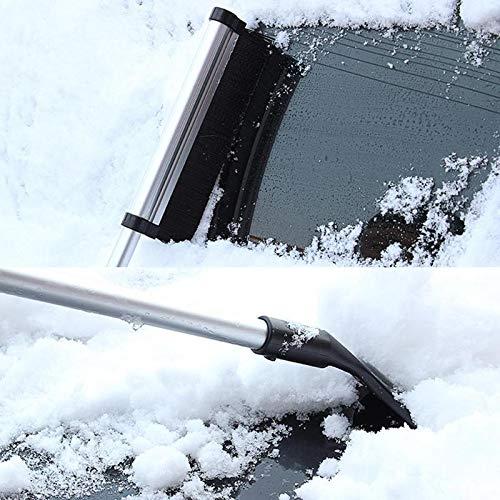 Cacys-Store - Retractable Aluminium Alloy Pull Rod Nylon Brush Car Glass Windshield Snow Removal Shovel Ice Scraper Car Wash & Maintenance