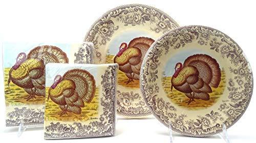 Serves 16! Spode Woodland Celebration Thanksgiving Turkey Paper Plates & Napkins, 112 Pcs Multi-Color