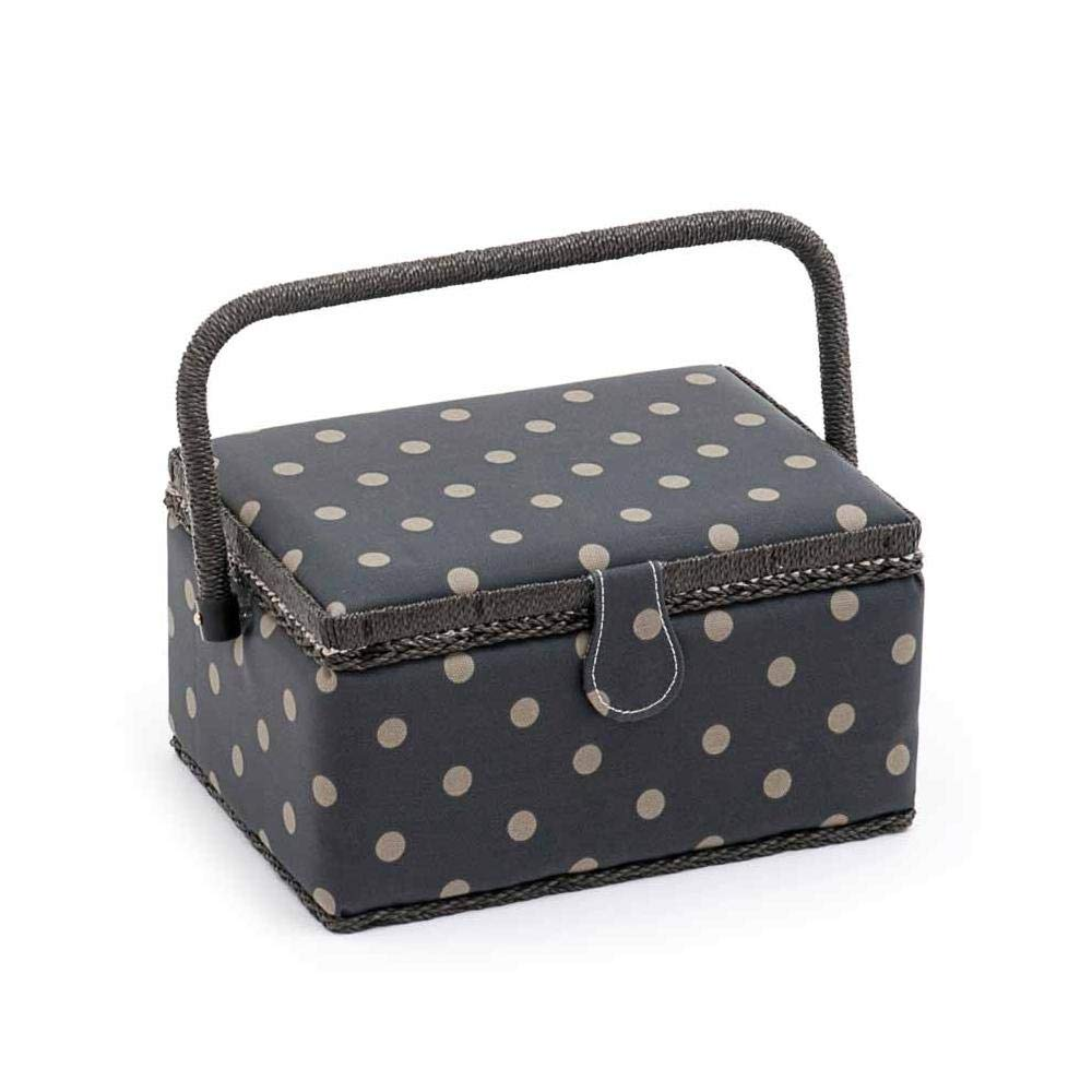 Hobbygift Value Collection: Sewing Box (M): Rectangle: Matt PVC: Charcoal Polka Dot, Cotton Blend, Assorted, 18.5 x 26 x 15 cm Groves MRM\263