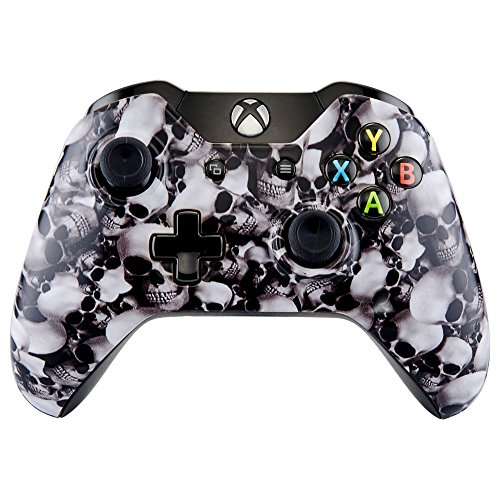 Extremerate White Skulls Design Faceplate Cover  Hydro Dipped Front Housing Shell Case  Replacement Parts For Standard Xbox One Controller   Fits Both With 3 5Mm Jack And Without 3 5 Mm Jack