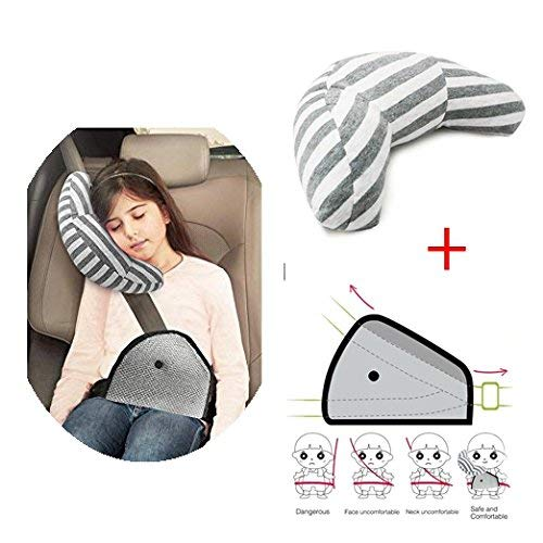 Booster Seat Pillow - Car Seat Pillow Kids, Car Seat Travel Pillow Neck Support Cushion Pad and Seatbelt Adjuster for Kids, Safety Belt Sleeping Pillow and Adjuster for Cars, Safety Strap Covers