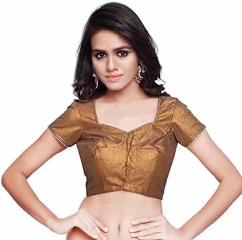 c0b948a5441abe Women s Gold Art Silk Readymade Partywear Saree Blouse Choli Top Mirchi  Fashion