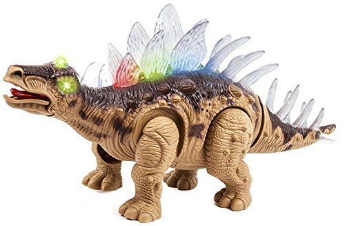 Toysery Walking Dinosaur with Flashing And Sounds Dinosaur Toys For Kids, Battery Operated Stegosaurus, Colors may vary -