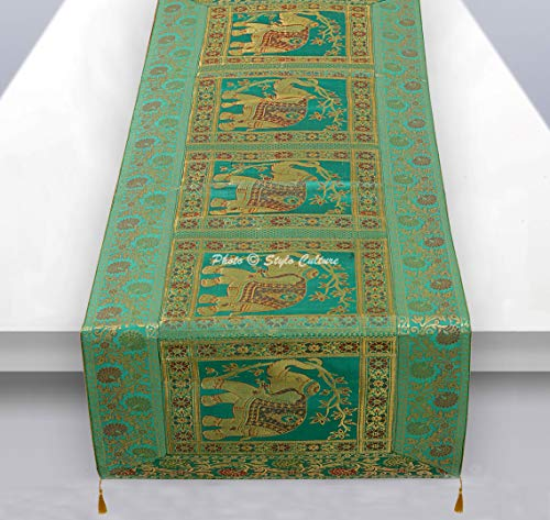 Traditional Rectangular Green - Stylo Culture Brocade Jacquard Coffee Table Runner Green Rectangular Bohemian Traditional Living Room Decor Elephant Floral Decorative Dining Table Cloth | 60x16 Inches (152 x 40 cm)