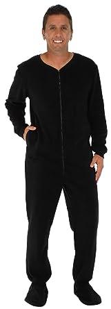 PajamaMania Men's Fleece Onesie Footed Pajama Pjs Black (PM17-M-BLACK-SML)