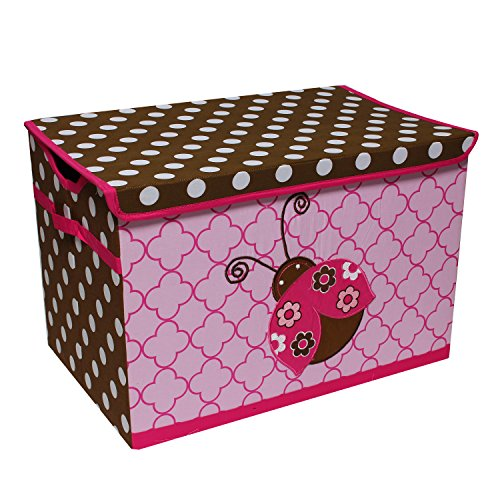 Bacati Ladybugs Storage Toy Chest, Pink/Chocolate