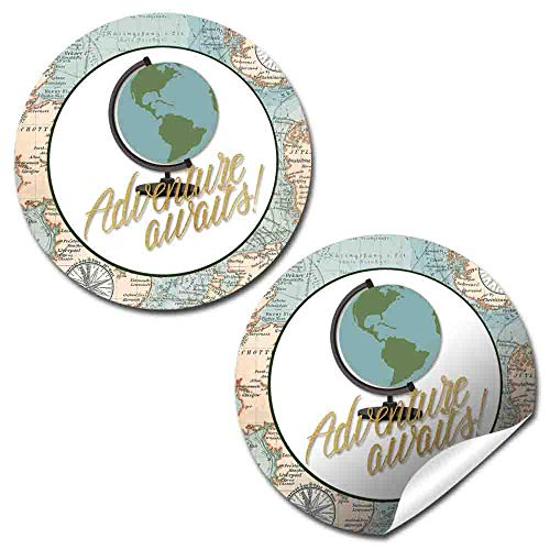 Adventure Awaits World Traveler Gender Neutral Baby Shower Thank You Sticker Labels, 40 2
