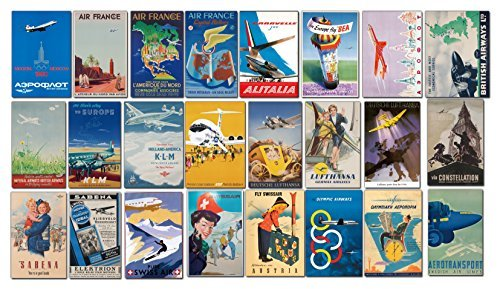 Stickerzzz!!! EUAIR24 Vintage European Airlines Luggage Labels - Retro Pack Of 24 Suitcase Travel Decals / Stickers Large Multi Large Multi