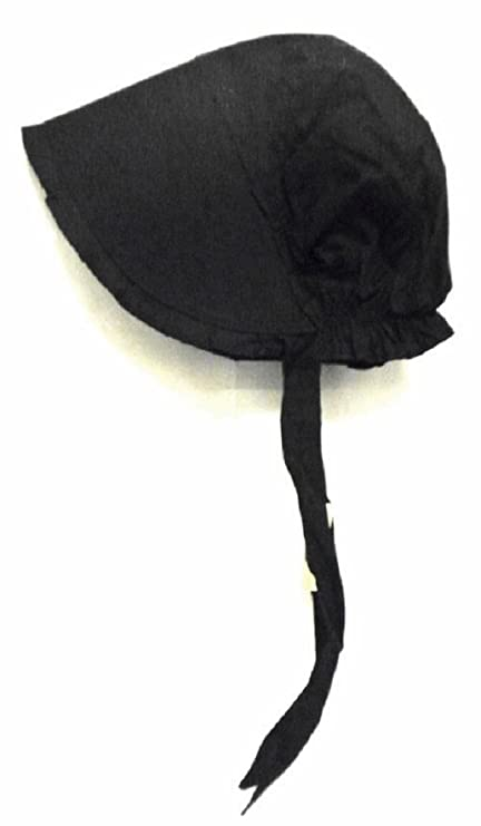 8a816a71eaf Amazon.com  100% Black Cotton Prairie Pilgrim Amish Bonnet Medium  Thanksgiving Hat  Toys   Games